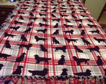 Plaid handmade blanket with dogs