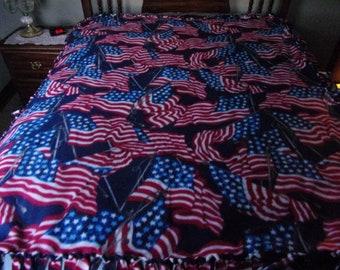 American flag handmade fleece knotted blanket