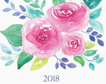 Limited-edition 2018 floral calendar, watercolor calendar, Printable Calendar,Digital download, poster calendar, botanical calendar, 11 x 17