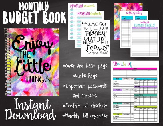 budget book colorful budget book simple budget book instant etsy