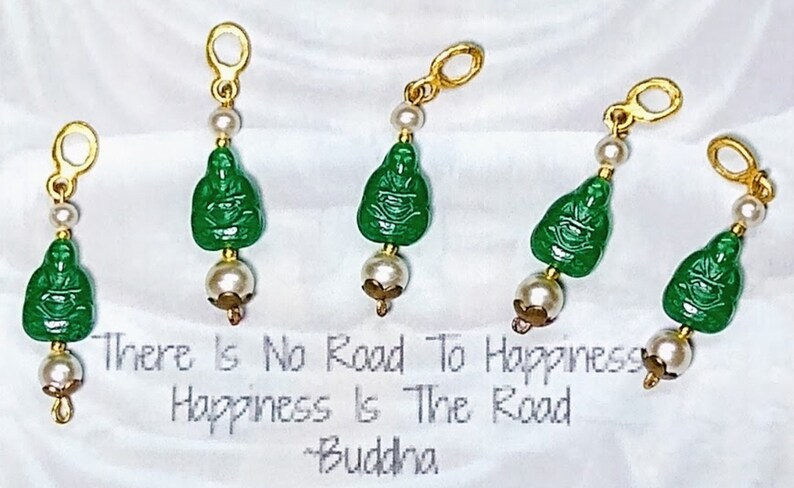 Handmade Vintage Happy Buddha Pearl  Charm Pendant Dangle Earrings ~ Translucent Green Czech Glass ~ ALL NOS Vintage Components