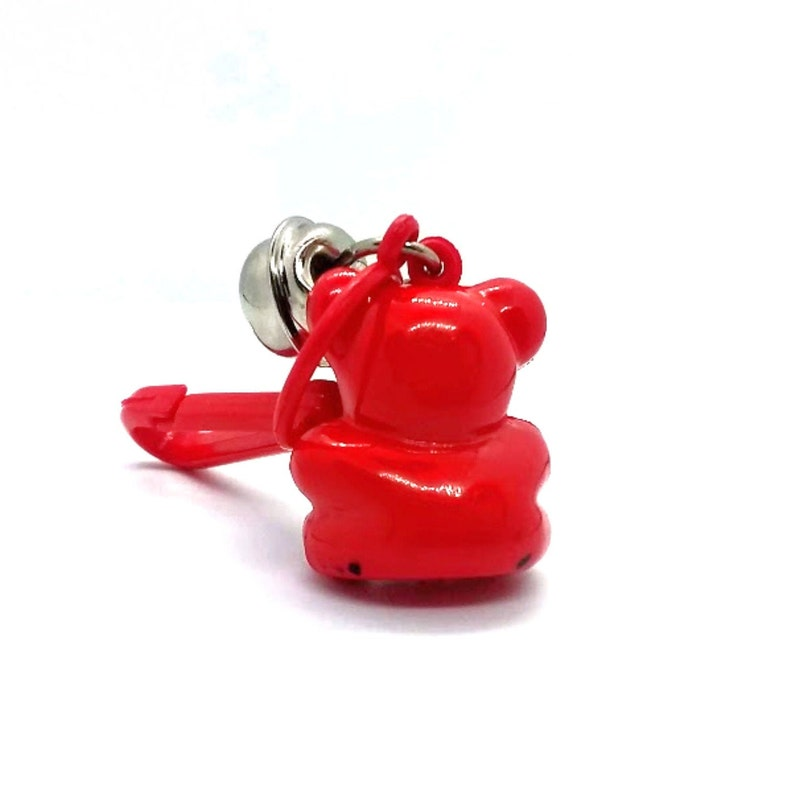1980/'s NOS Plastic Bell Clip-On Charm for Chain Necklace ~ Red Teddy Bear  *New Old Stock*  Many More Listed!