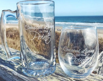 Personalized Etched Wine Glass or Beer Mug
