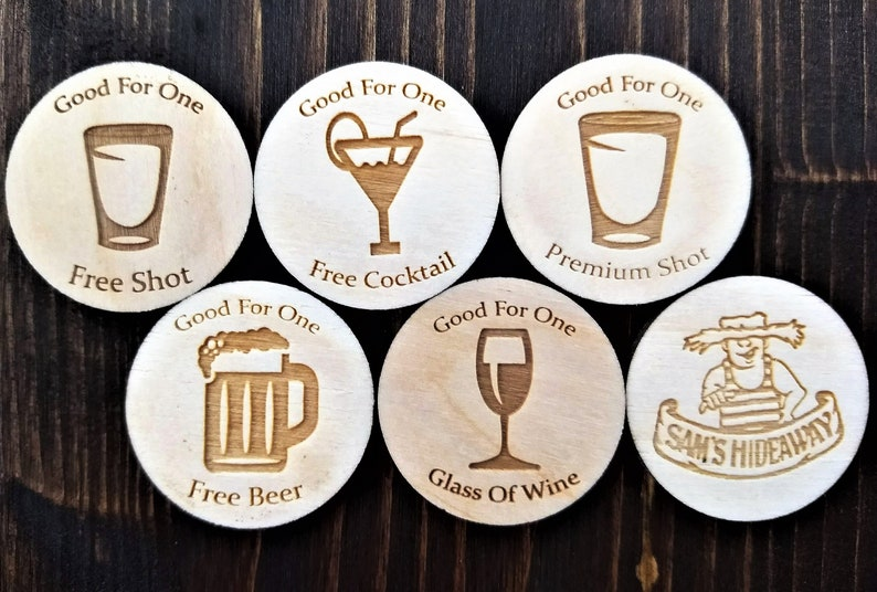 Personalized Wooden Coins Custom Image And Text
