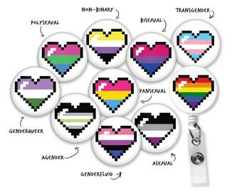 LGBT+ Pixel Heart Pride Badge Reel