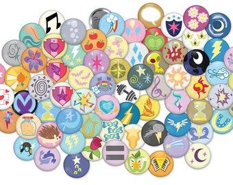 MLP: FiM Cutie Mark Buttons - Three Sizes