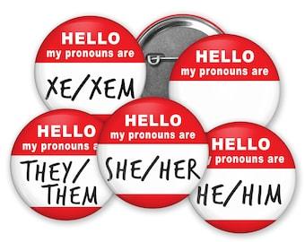 Pronoun Buttons - Large - New Colors!