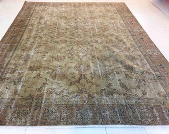 R Brown Area Rug Overdyed Floral Large Turkish Retro Living Room  Oushak Bohemian TK27013
