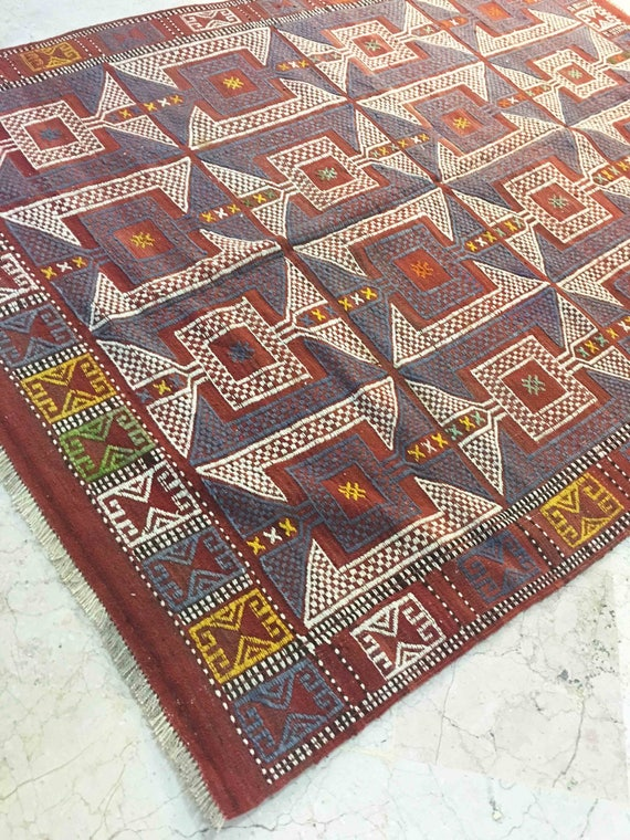 Vintage Turkish Rug Kilim Rug Outdoor Rugs Kilim Rug 5x7 Gray Turkish Rug Tapijt Navajo Rugs Red Carpet Turkish Geometric Rug Rs18037