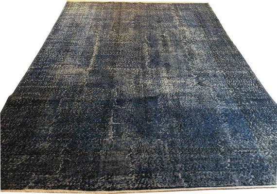 navy blue rug, overdyed turkish rug, living room rug, hand knotted rug,  blue distressed rug, faded rug, rug for livingroom, decor TK27024