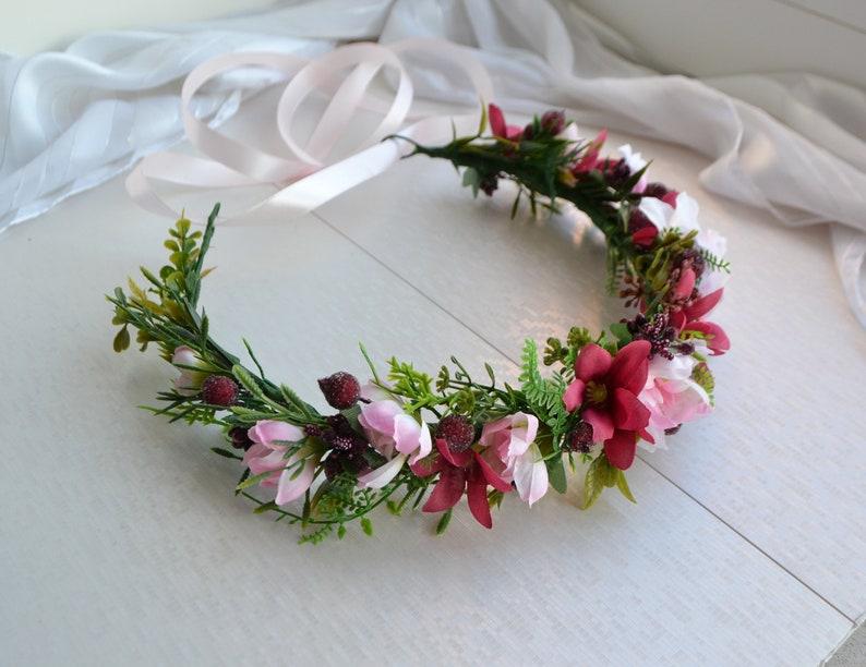 Woodland Flower crown Rustic Wedding Headpiece Burgundy blush pink Hairpiece Bridesmaid crown Greenery crown Maroon Bridal Flower crown