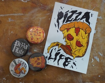 Pizza Life Button Badges