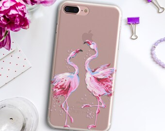 6301b6a946 Pink Flamingo iPhone 6s 7 8 Plus Case iPhone Xs Max Xr 10 Two Birds Cover  Samsung Galaxy S6 S7 Edge S8 S9 Plus Summer Rose Transparent Case