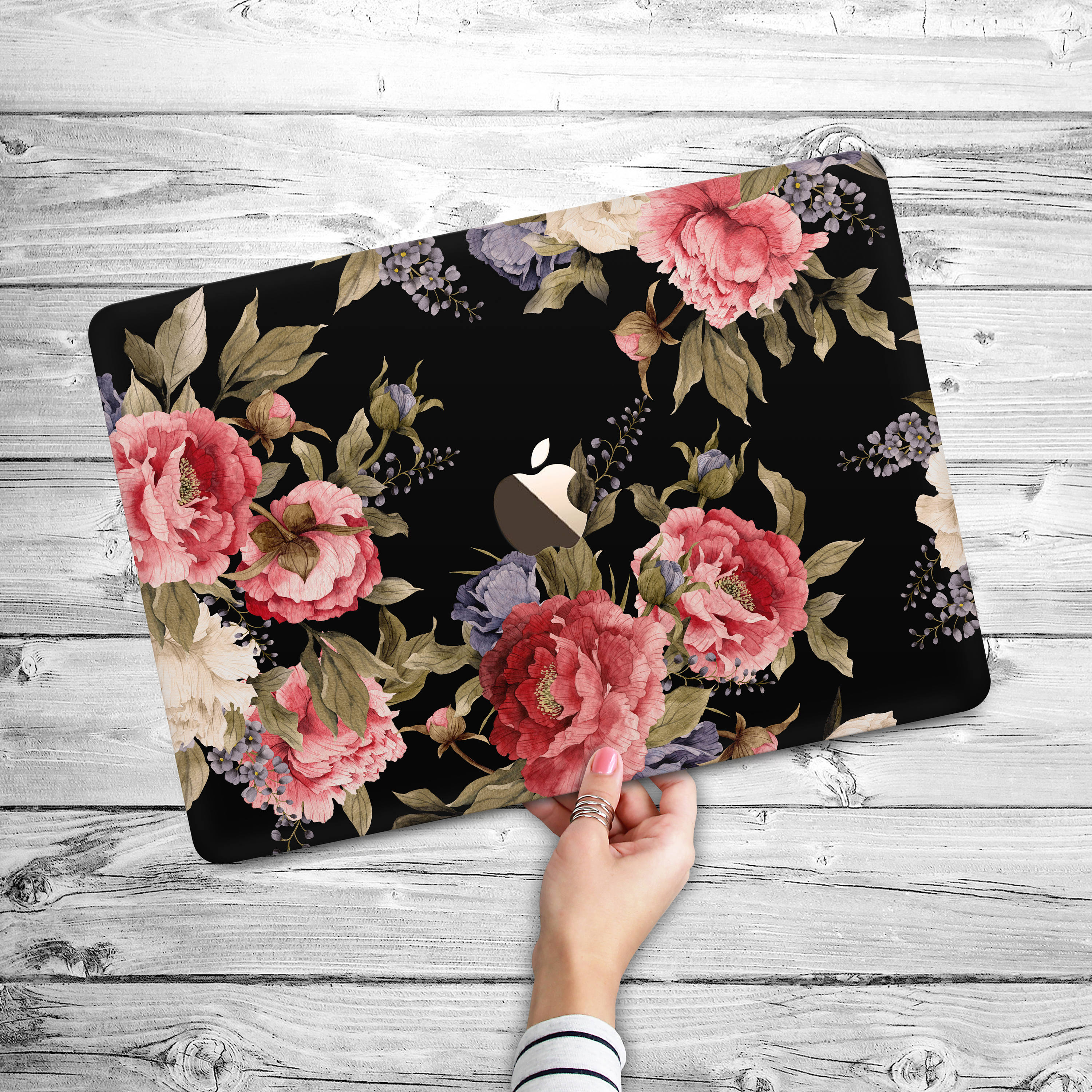 half off 3a7df d684b Floral MacBook Air 11 Air 13 Case / Pink Flowers Macbook 13 Pro Retina  Black Hard Cover / Macbook 12 15 Pro Touch Bar 2018 Pink Peonies Case