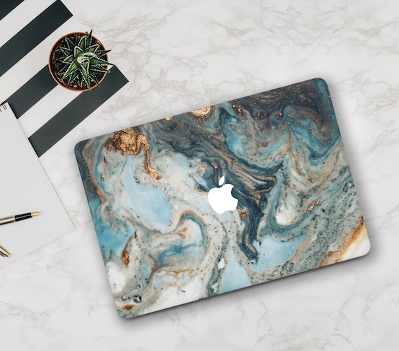 Turquoise Gold Marble Hard Case Cover For Macbook Pro 12 13 15 Air 11 13 2018