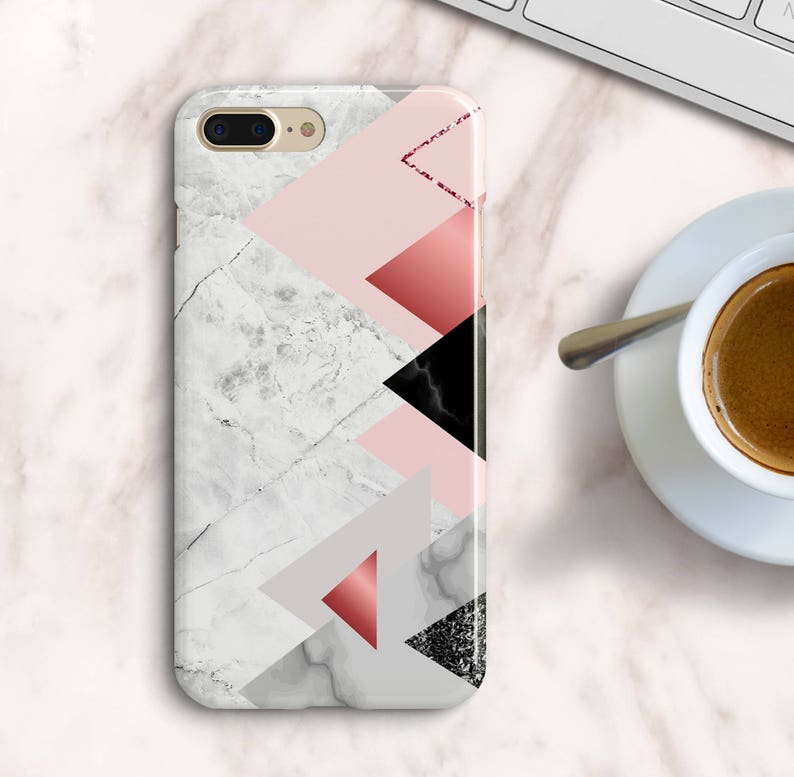Triangle Marble iPhone 7 8 Plus Case iPhone 6 6s SE Geometric Marble Case  iPhone X 10 White Marble Case Samsung Galaxy S5 S6 S7 Edge Case