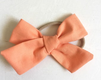 Apricot Blush Chunky Knot Hairbow and Soft Nylon Headband