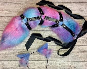 Bondage Harness Kitten Tail Ears Set BDSM Petplay