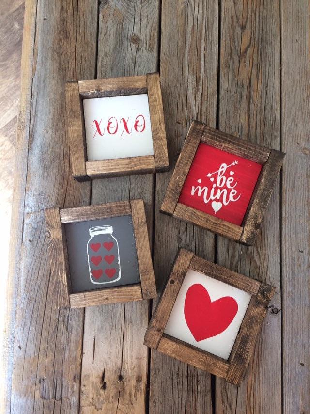 Tiered Tray Decor mini wood sign Valentine/'s Day decor farmhouse wooden sign Farmhouse red truck decor Valentine/'s Sign