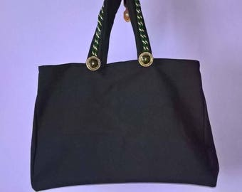 Fabric bag with handles finished in cordon