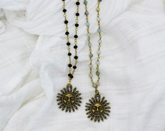 Rosary Chain Choker, Bronze Sun Necklace, Amazonite Rosary Chain Necklace, Summer Jewelry For Women, Beach Jewelry