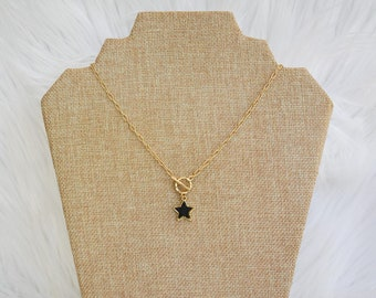 Paperclip Star Necklace, Druzy Star Pendant Necklace, Druzy Necklace, Toggle Clasp Necklace