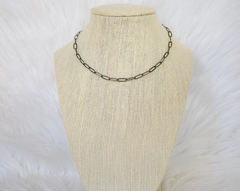 Gunmetal Paperclip Necklace, Stocking Stuffers For Teens, Christmas Gifts for Women, Paperclip Necklace, Gunmetal Link Necklace