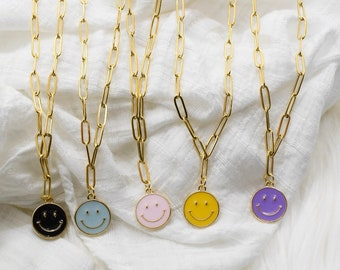 Smiley Face Paperclip Necklace, Smiley Face Necklace, Happy Face Jewelry, Face Charm Necklace, Gold Paperclip Necklace