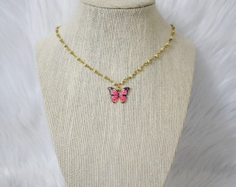 Butterfly Necklace For Women, Stocking Stuffers for Teens, Rosary Chain Choker, Acrylic Butterfly Necklace, Beaded Choker, Gold Butterfly