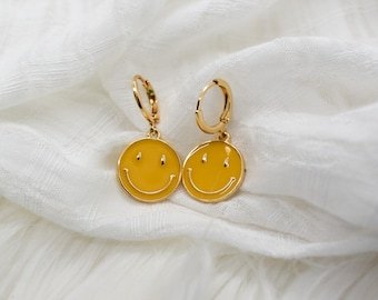 Smiley Face Earrings, Happy Face Jewelry, Yellow Smiley Face Earrings, Enamel Smiley Face, Smiley Face Huggies