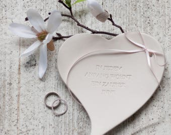 """Heart ring dish """"BLANC"""" with name + date"""