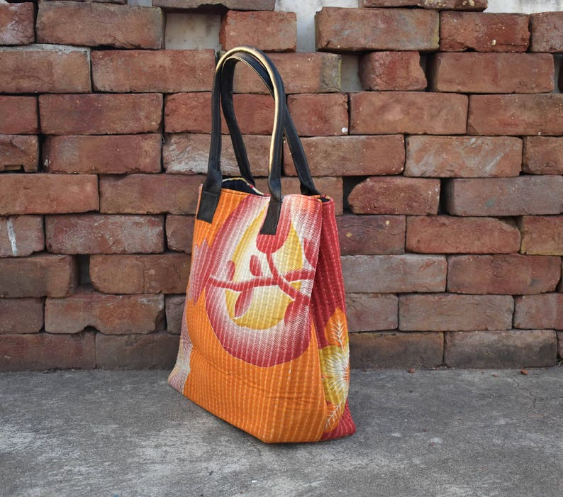 indian bag one of a kind bag Vintage Cotton kantha Tote bag with leather handle Hand Embroidery antique gudari