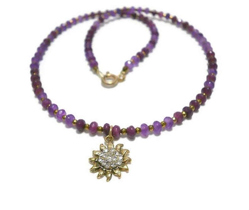 Amethyst jewelry,Dainty necklace,Dainty jewelry,Amethyst necklace,Gift for women,vintage jewelry,Purple necklace,sun jewelry,sun jewelry