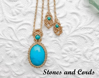 Turquoise macrame necklace / Turquoise pendant / Blue Turquoise jewelry / gift for her / Turquoise / Healing stones and crystals / Yoga