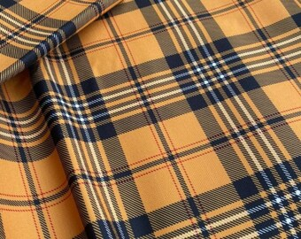 Heavy Duty Faux Wool Grey Mustard Yellow Tartan Plaid Tartan Upholstery Fabric