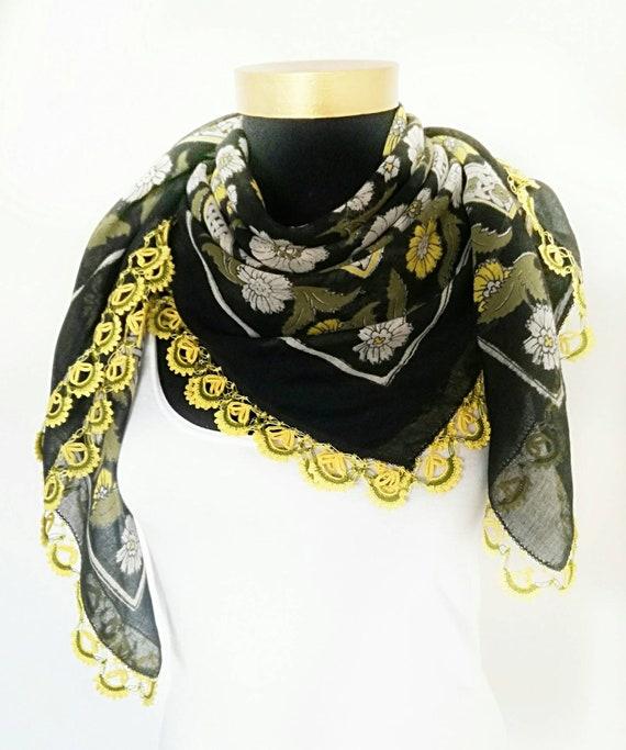 CLEARANCE Cotton Scarf, Vintage Turkish Oya Scarf,