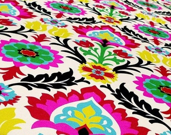 Santa Maria Upholstery Fabric By Yard, Desert Flower Fabric, Ethnic Boho Fabric, Mexican Damask Floral Fabric for Chair Curtain Pillow DIY