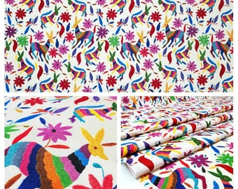 Mexican Otomi Upholstery Fabric, Boho Fabric for Curtain Tablecloth Bedspread DIY, Embroidery Print Fabric By Yard, Folk Art Ethnic Fabric