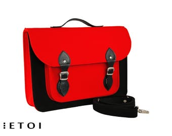 Laptop bag, felt laptop bag, messenger bag, shoulder bag, macbook air sleeve, crossbody bag, leather bag, red bag, black bag