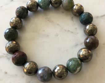 "8""- gemstone - pretty - gift for her - pyrite - fancy jasper - faceted - spring - summer"