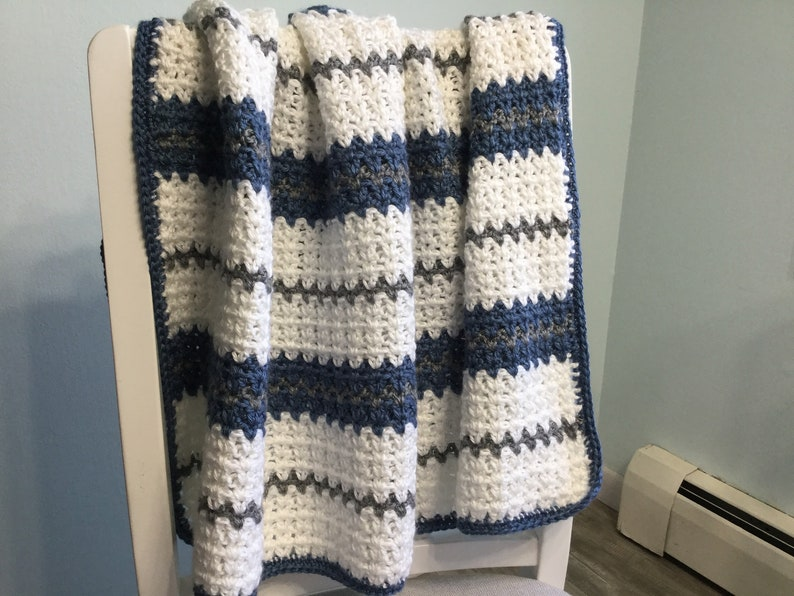Gray and Dark Blue Modern Crocheted Baby Blanket in White