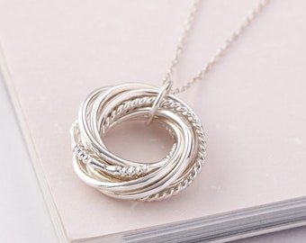90th Birthday Gift For Grandma Women 9 Ring Necklace Mom Jewelry Grandmother