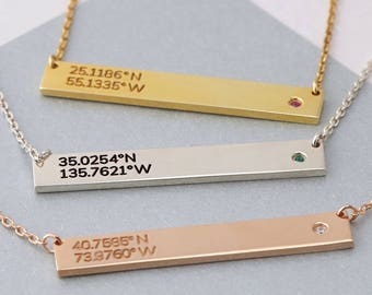 Coordinates necklace birthstone - Coordinates jewelry - Gold coordinates necklace - Latitude longitude jewelry - Sister jewelry - Grad gifts