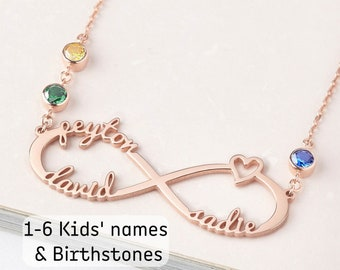 Name Plated Necklace Meaningful Mother days gif Family Name Necklace Infinity Name Necklace Personalized gifts for mom from daughter