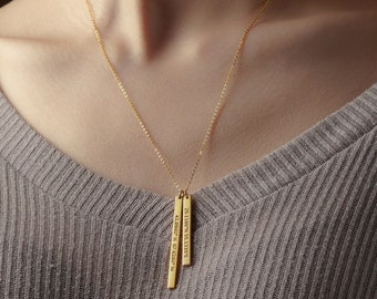 5c2aec21368 Double Bar Necklace - Lat Long Jewelry - Gold Coordinates Necklace - Coordinate  Gift - Long Distance Gift - Coordinates Necklace Long