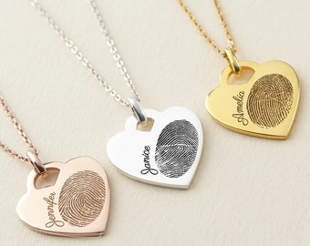 Fingerprint Necklace Heart - Fingerprint Pendant - Memorial Heart Necklace - Sterling Silver Fingerprint Jewelry - Thumbprint Jewelry