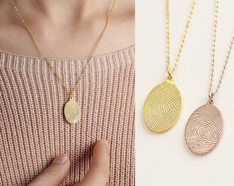 Thumbprint Jewelry, Finger Print Necklace, Memorial Jewelry, Fingerprint Jewelry, In Memory of Mom Necklace, Thumbprint Necklace
