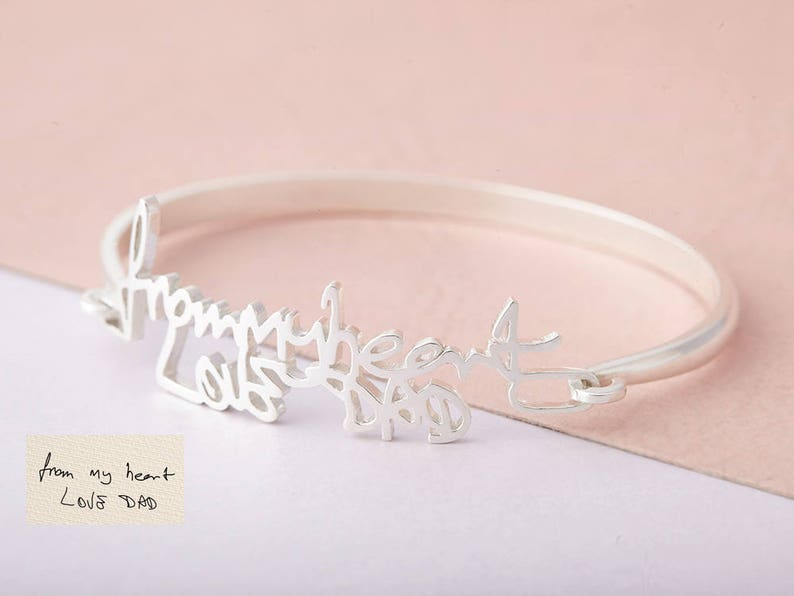 Bridesmaid Gift Memorial Bracelet Signature Bangle Gift for Her Handwriting Bangle Personalized Handwriting Bangle
