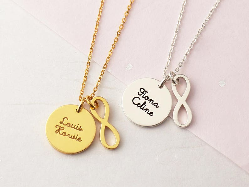 Mother Gift New Baby Gift Kids Name Necklace Custom Name Necklace Infinity Charm Necklace