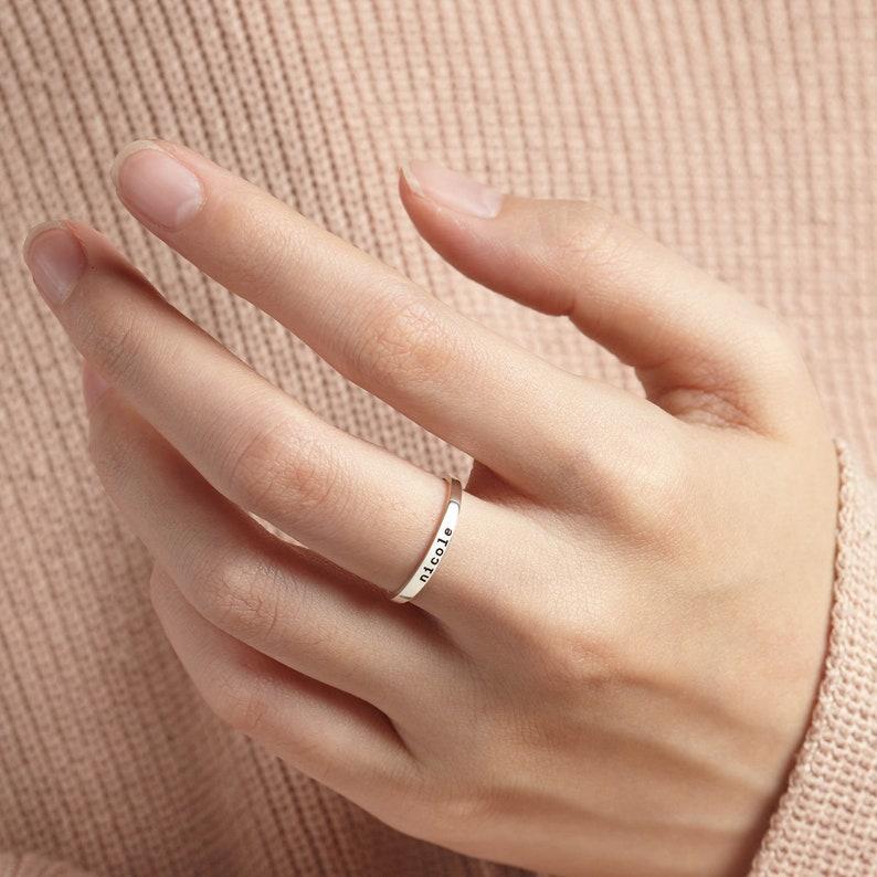 Stackable Mom Rings \u2022 Stacking Rings Name\u2022 Thin Name Ring \u2022 Custom Name Ring \u2022 Name Rings Sterling Silver \u2022 Mothers Rings \u2022 Mother Jewelry